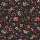 Through the Years - Blooming Bright Black Yardage