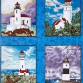 Lighthouse Wonders - Lighthouse Blocks Blue Yardage