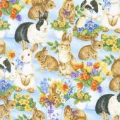 Garden Gathering - Bunnies Allover Blue Yardage