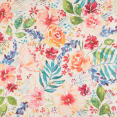 Brightly Blooming - Flower Party Mochi Natural Digitally Printed Linen Yardage