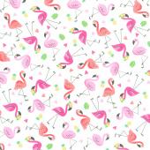 Animals - Mini Flamingos White Yardage