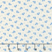Aunt Grace Backgrounds - Flower Bud Blue Yardage