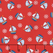 A Whale of a Time - Tossed Sailboats Red Yardage