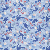 Novelty - Baseball Game Motifs Blue Yardage