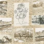 Vincent Van Gogh 3 - Sketchbooks Notes Ivory Yardage