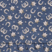 Ranch Hands - Horseshoes Blue Yardage