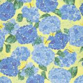 Cottage Bleu - Hydrangeas Sunlit Yardage