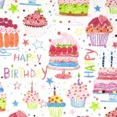 Nicole's Prints - Happy Birthday White Yardage