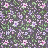 Amethyst Magic - Medium Floral Black Yardage