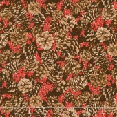 Merry, Berry, and Bright - Pine Cones Aplenty Radiant Berry Metallic Yardage