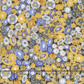 Gustav Klimt - Stones Ovals Cobalt Metallic Yardage