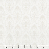 Amberley - Damask Topiaries Linen White Yardage