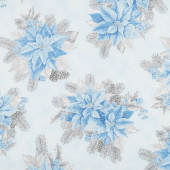 Holiday Flourish 13 - Blue Poinsettia Bouquet Metallic Yardage