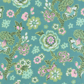 Night Music - Midnight Bloom Teal Yardage