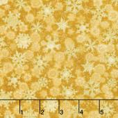 Winter's Grandeur 6 - Holiday Small Flakes Gold Metallic Yardage