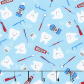Novelty - Clean Teeth Blue Yardage