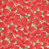 Garden Rose - Medium Red Roses Cream Yardage