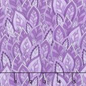 Rainbow Flight - Decorative Leaves Purple Yardage