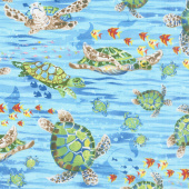 Ocean State - Large Sea Turtles Blue Yardage