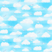 Beside the Sea - Clouds Blue Yardage