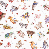 Hungry Animal Alphabet - Animal Toss Off White Digitally Printed Yardage