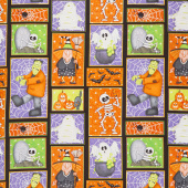 A Haunting We Will Glow - Patchwork Motifs Multi Glow in the Dark Yardage