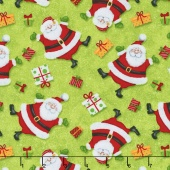 Jolly Ole' St. Nick - Tossed Santas Green Yardage