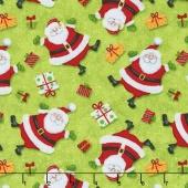 Jolly Ole' St. Nick - Tossed Santas Green Yardage