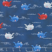 A Whale of a Time - Horizontal Whales Light Blue Yardage