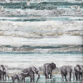 New Dawn - Elephant Scenic Blue Digitally Printed Yardage