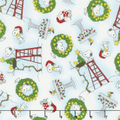 Peace Love Joy - Snoopy and Woodstock Christmas White Yardage