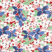 Hi - de - Ho! - Large Floral Red/Blue Yardage