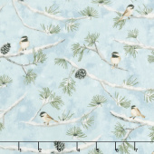 Winter White: Solstice - Winter Birds Aqua Metallic Yardage