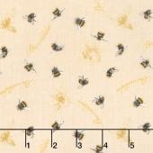 Follow the Sun - Bumblebees Allover Cream Yardage