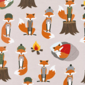 Campsite Critters Flannel - Foxes Nature Yardage