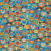 Cats - Bright Cat Sugar Skulls Multi Yardage