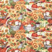 Fall Delight - Pumpkins and Sunflowers Orange Yardage