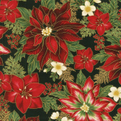 Holiday Flourish 11 - Holiday Poinsettias Black Metallic Yardage