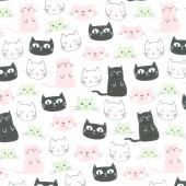 Purrfect Day - Cats Main White Yardage