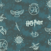Wizarding World - Harry Potter Symbols in Dark Teal Yardage