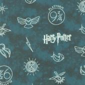 Wizarding World - Harry Potter Symbols in Dark Teal Yardage