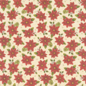Winterberry - Winter Poinsettia Parchment Yardage