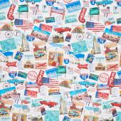 American Road Trip - Road Trip Collage Multi Yardage