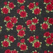 A Festival of Roses - Festive Damask Roses Black Yardage
