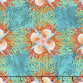Calypso - Shells Teal Digitally Printed Yardage