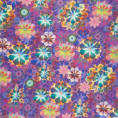 Venice - Flowers Jewel Purple Digitally Printed Yardage