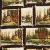 Thomas Kinkade - A Peaceful Retreat Allover Multi Digitally Printed Yardage