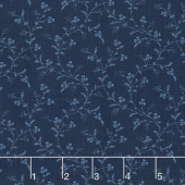 Abigail Blue - Trailing Vines Navy Blue Yardage