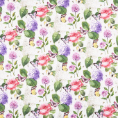 Scented Garden - Feature Floral White Multi Digitally Printed Yardage