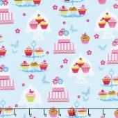 Cupcake Cafe - Cake Stands Aqua Yardage